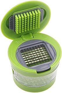 Cortador de ajos y rebanador | Prensa picadora de alimentos vegetales y ajos | Bandeja de plástico | 2 cuchillas