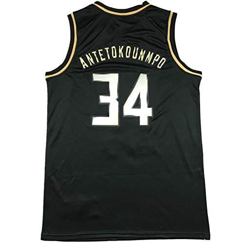 OLJB Jersey Giannis Antetokounmpo Milwaukee Bucks # 34 Versión Negra y Dorada de la Jersey, Tanques Deportivos sin Mangas Transpirables XXL