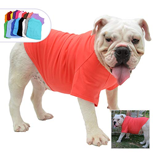 Lovelonglong Bulldog Clothes Dog Clothing Blank T-Shirt Tee Shirts for French Bulldog English Bulldog American Pit Bull Pugs 100% Cotton Skin Care Lobster-Pink B-XL