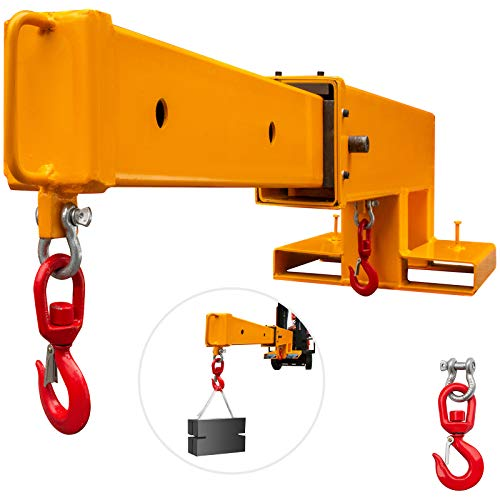 VEVOR Forklift Mobile Crane 5500lbs Capacity, Forklift Crane Attachment 2 Hooks, Forklift Lifting Hoist w/Truss Jib Boom, Forklift Extension, Forklift Boom Attachment Towing Handling Equipment
