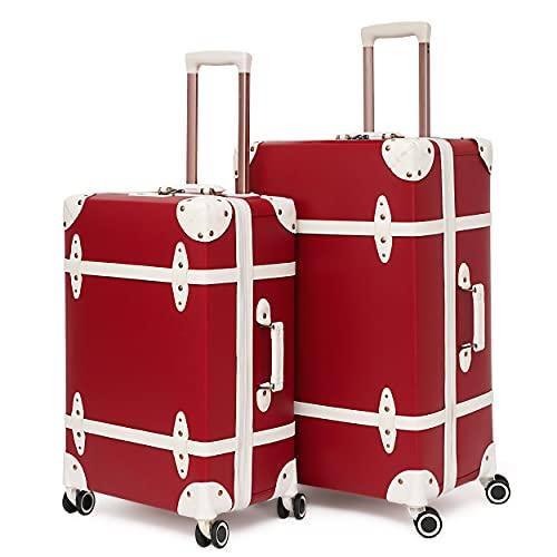 urecity Vintage Juego Maletas Viaje Sin Hebilla Lindo Clásico Conjunto de Maleta Trolley con Cerradura TSA y 8 Ruedas (Rojo con Blanco, 20'&28')
