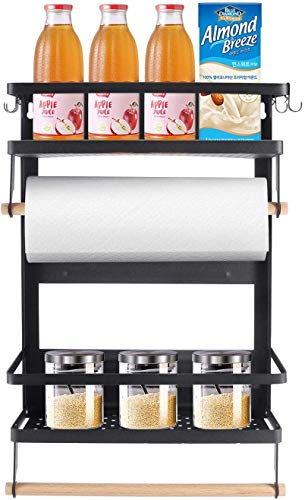 Toilet Paper Holder Foldable Magnetic Shelf for Refrigerator Magnetic Spice Rack Organizer Large 3-Tier Powerful Magnetic Storage Shelf With Paper Towel Holder 5 Removable Hooks Space Saving For Fridg