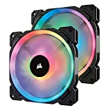 Corsair LL Series LL140 RGB 140mm Dual Light Loop RGB LED PWM Fan 2 Fan Pack with Lighting Node Pro, Model Number: CO-9050074-WW