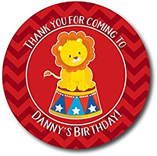 VinMea Circus Birthday Labels Circus Party Lion Tamer Stickers Birthday Party Favor Stickers Circus Labels Popcorn Favor Labels Cotton Candy Labels 3