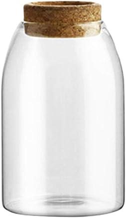 Preisvergleich für BESTONZON800ML Transparent Glass Storage Tank Borosilicate Glass Sealed Cans Food Grains Container with Cork (Button Shape Cork, M)