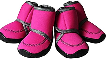 Rose, L : Non-Slip Solid Winter Pet Dog Shoes Small Big Dog's Boots Non Slip XXS-XXL for Chihuahua Pet Shoes