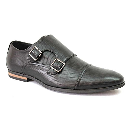 Men's Dotted Cap Toe Monk Strap Dress Shoes Buckle Modern By Azar (9.5 U.S (D) MEDIUM, BLACK)