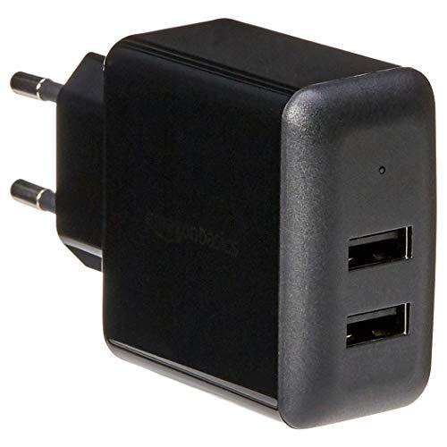 Amazon Basics Caricabatterie da parete a 2 porte USB - 2,4 A - Nero