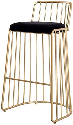 SUGEWANJBD Modern, metaal, barstoel met ergonomische rugleuning, eenvoudig design met fluweel zitkussen voor café, koffie, keuken, restaurant