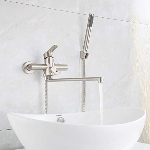 HomeLava Badewannenarmatur Wandarmatur Armatur Wanne Badewanne Auslauf 35cm lang mit Umstellventil Duscharmatur Einhand-Brausebatterie für Badezimmer Dusche, Edelstahl Gebürstet