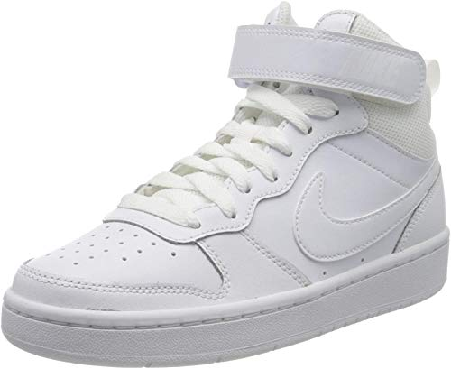 NIKE Court Borough Mid 2 (GS), Sneaker, White/White-White, 38.5 EU