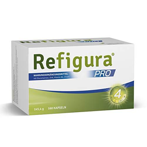 Refigura Pro: Gesundes Abnehmen, mit Glucomannan, Zink, Vitamin B6 und Chrom, pflanzlich, vegan, Kapseln, 160 Stk.