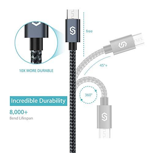 Syncwire Micro USB Kabel Nylon [2-Stück, 1m], High Speed Sync und Schnellladekabel, USB Ladekabel kompatibel mit Samsung Galaxy, HTC, Huawei, Sony und Mehr - Schwarz