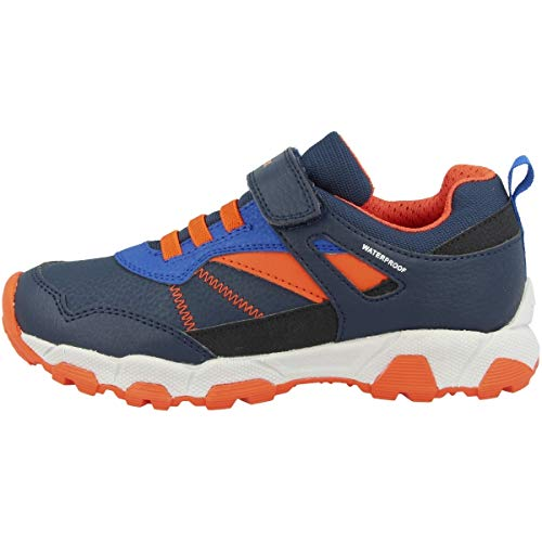 Geox Jungen Sneaker MAGNETAR Boy WPF, Kinder Low-Top Sneaker,lose Einlage,wasserdicht, Kids Jungen Kinderschuhe toben,Navy/ORANGE,32 EU / 13 UK Child
