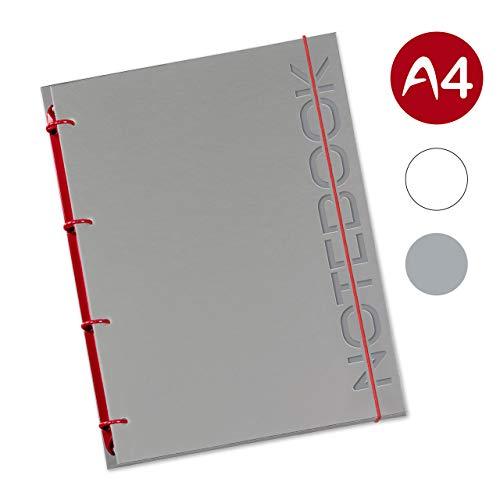 flexiNotes NOTIZBUCH A4, Typ: Notebook, Weinrot, 75 Blatt kariert - Ring S