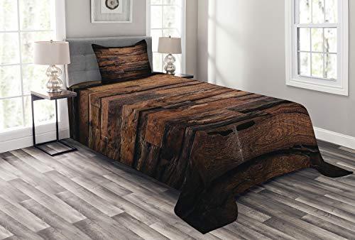 ABAKUHAUS Schokolade Tagesdecke Set, Raue Dunkle Holz, Set mit Kissenbezug Klare Farben, für Einselbetten 170 x 220 cm, Dunkelbraun Braun