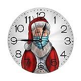 Weihnachtsmann trägt eine Maske, 25,4 cm, rund, batteriebetrieben, Wanduhr für Wohnkultur, Wohnzimmer, Küche, Schlafzimmer, Büro, Schule