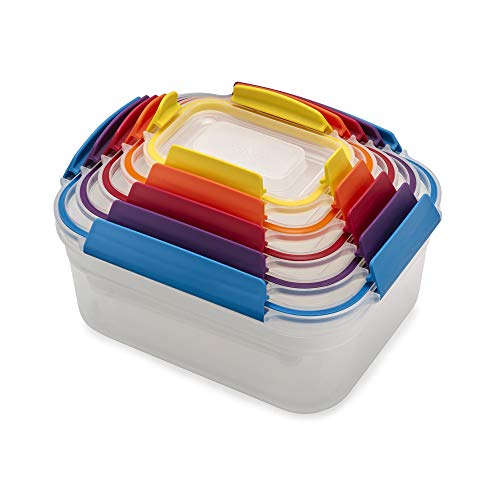 Joseph Joseph Nest Lock Plastic Food Storage Container Set with Lockable Airtight Leakproof Lids 10piece Rainbow