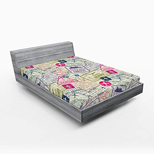 Ambesonne Travel Fitted Sheet, Passport and Visa Stamps Illustration of Toronto Hong Kong Berlin Print, Soft Decorative Fabric Bedding All-Round Elastic Pocket, Queen Size, Eggshell Pink