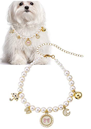 Pearl and Whimsical Charms Pet Necklace - 28 cm with 10 cm Extender - Small Accessory Fits...