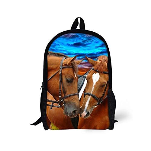 Bingyingne Mochilas escolares para niños de gran capacidad Mochilas de hombro con patrón de caballo de pareja loca 3D Mochila