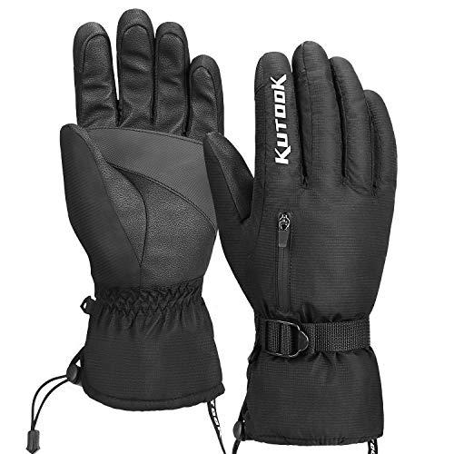 KUTOOK Guantes Esquí Calentitos Impermeables para Hombre Y Mujer, Guantes Snowboard Tactiles Guantes Nieve Invierno(Negro-M)