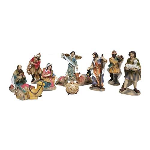 Composé de naissance 9 pièces-fabriqué en résine et terciopelo. mesures l'enfant Jesús mesure 4 x 12 x 8,5 CCS. la Vierge Marie env. 15 CCS. de hauteur l'ÉLECTRIFICATEUR adorando cms.de hauteur 16 le Roi adorando CCS. hauteur de 17 22 CCS. San José de alt. les Rois mesurées 23,5cms. de alt. Mule mesure 12,5 x 8,5 x 8 CCS. el buey mesure 9 x 13,5 x 8,5 CCS..