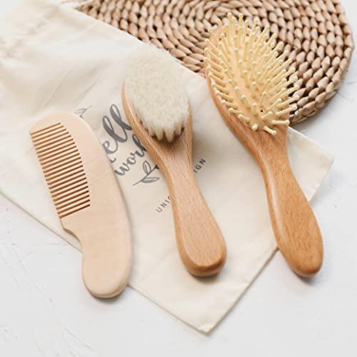Cepillo de baño 3pc recién nacido cepillo de pelo y peine conjunto cepillo de madera natural peine portátil bebé peine cabeza masajeador para el cuidado del bebé producto