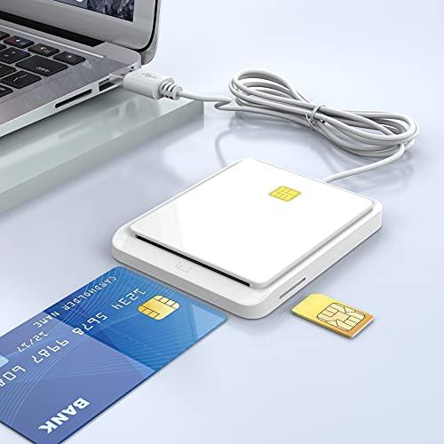 Rocketek Smart Card + SIM Card Smart Card Reader, Dual Card Slot Design, USB 2.0 Contact Hot-Plug Smart Card Reader, Portable Military CAC Card Reader, DOD Military USB Common Access Card Reader