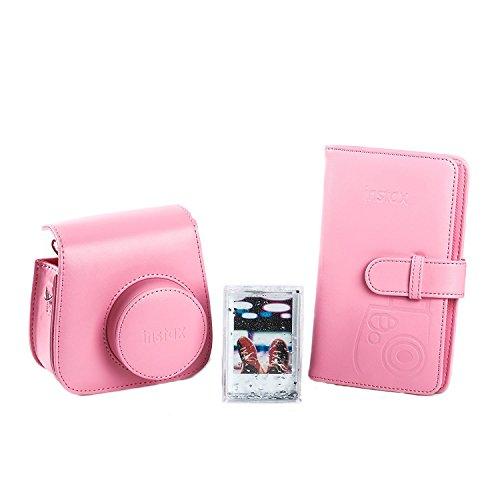 Fujifilm 70100138066 - Kit de accesorios para instax mini 9 (funda desmontable con cierre magnético, álbum 108 fotos, marco de metacrilato) color rosa flamenco