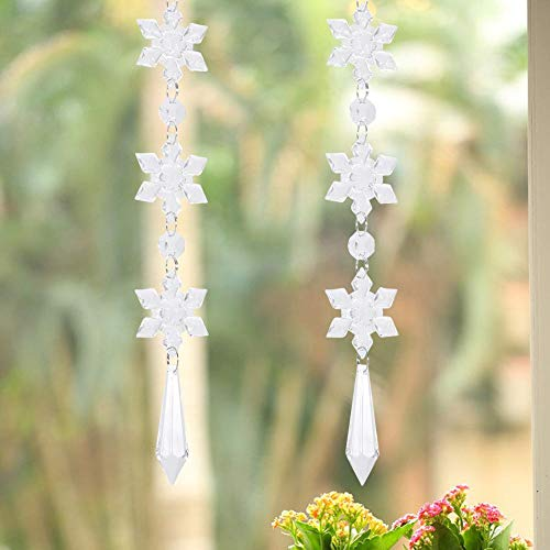 Bicaquu Prächtiges hängendes Tropfen-Pendel, Kristallperlenkette, DIY für Hochzeitsfeier-Geburtstagsfeier DIY-Schmuck, der Weihnachtsbaum Macht(Pointed Long Pendant)