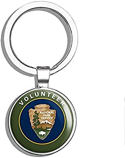 PRS Vinyl Round National Park Service Volunteer (NPS us Help Love NP) Double Sided Stainless Steel Keychain Key Ring Chain Holder Car/Key Finder