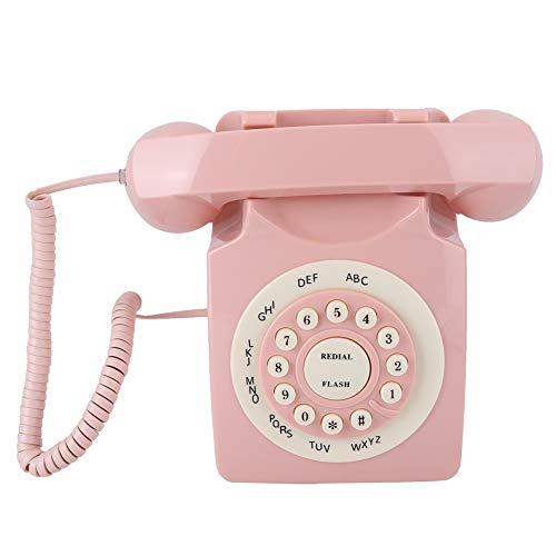 Dilwe1 Teléfonos Antiguos para línea Fija, teléfono Rosa Estilo Europeo, teléfono Antiguo con Cable con Botones Grandes, teléfono Decorativo para Oficina en casa