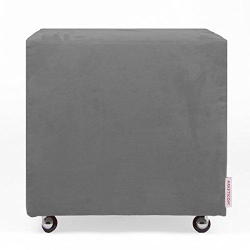 Arketicom UILLS Pouf Design Cube Roues Repose Pied Dehoussable Microfibre 55x45 Gris