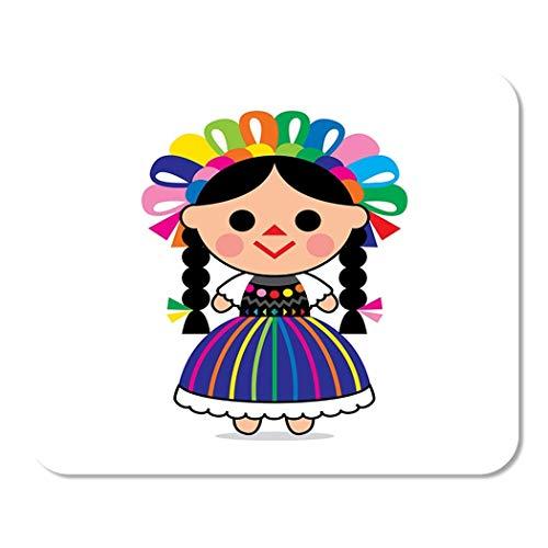 Bunte Karikatur niedlich von mexikanischer Puppe Charakter Kleid Kind Home School Game Player Computer Arbeiter MouseMat Mouse Padch