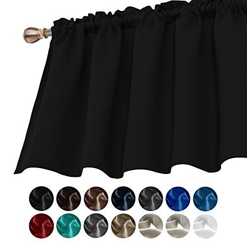 Deconovo Black Valances for Window Kitchen Valance Textured Embossed Blackout Valance Curtain 42x18 Inch 1 PCS