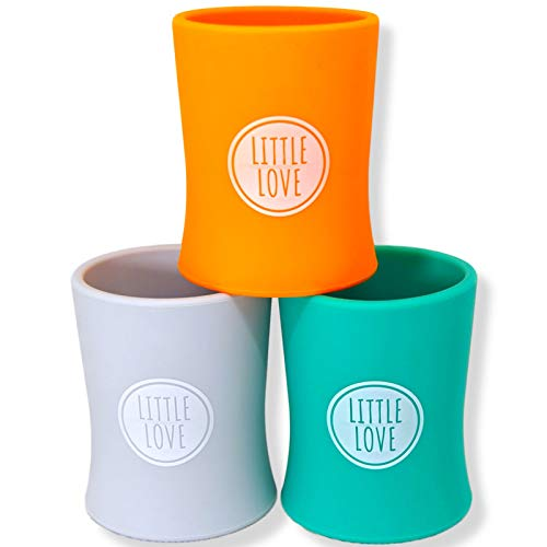 Premium Baby Cups, Silicone,Baby Weaning Cup Toddler Cup, Sippy Cup, First Open,Free Flow Baby Cup 3 Pack (Multicoloured)