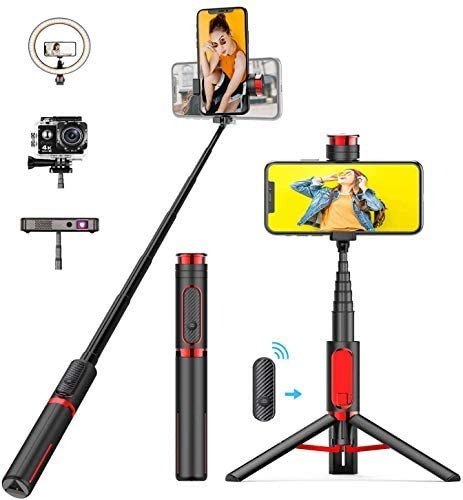Bcway Selfie Stick Tripod Lightweight Extendable Aluminum All in One Phone Tripod with Detachable product image