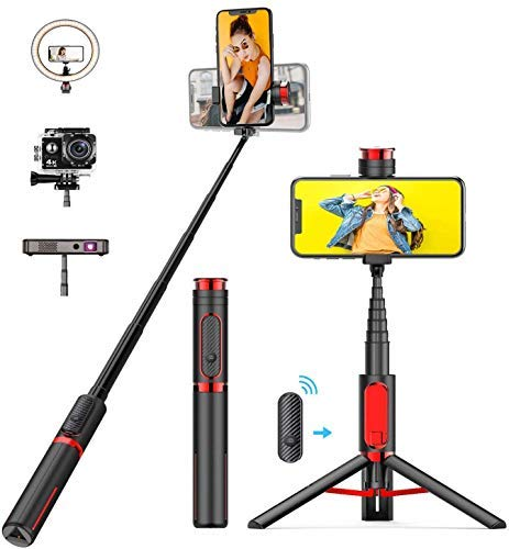 Bcway Selfie Stick Tripod, Lightweight Extendable Aluminum All in One Phone Tripod with Detachable Bluetooth Remote for iPhone 12/11/XS MAX/X/8/8 Plus, Galaxy S10/S9/S9 Plus, Samsung, Huawei, GoPro