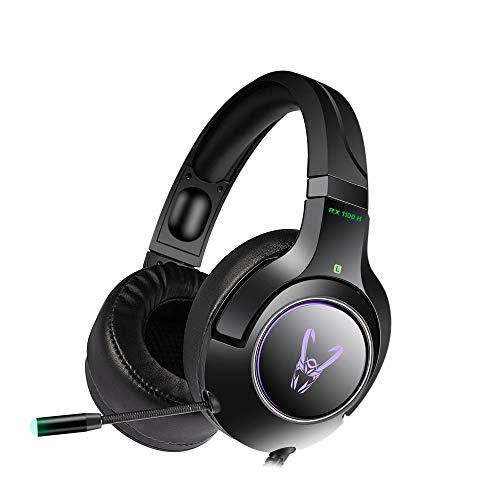 Woxter Stinger RX 1100 H - Auriculares Gaming Profesionales Led,Giratorios con micrófono para PS4–PC–Xbox One–Switch,Reducción de Ruido,Diadema Ajustable,Micrófono omnidireccional y Adaptador 2 en 1