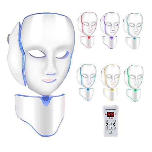 7 colores Photon LED Máscara Facial Cuello anti-arrugas acné Distancia piel verjüngung eléctrica