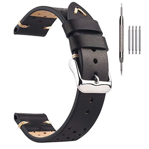 Correas de Reloj de Cuero de Carreras de 20 mm, Cada Correa de Repuesto Negra bronceada Vegetal Transpirable Negro