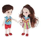 sharprepublic 2Stk. 16 cm Lebensechte Mädchen Puppe Spielpuppe mit Puppenkleidung und 13 bewegliche...