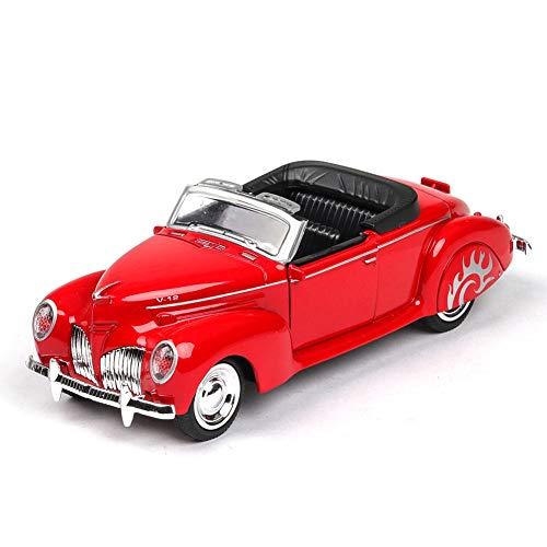 DishyKooker rc Spielzeug Auto 1/38 Simulation Alloy Cabrio Oldtimer mit Sound und Licht Kinder Spielzeugauto Blau
