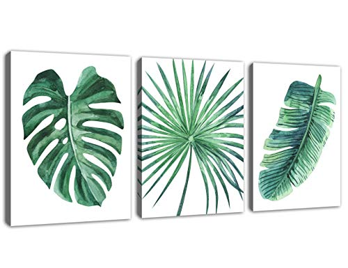 Green Leaf Wall Art Tropical Plants Pictures Wall Decor Simple Life Canvas Artwork Contemporary Watercolor Minimalist Canvas Print Art for Bathroom Living Room Bedroom Decoration 12 x 16 x 3 Piece