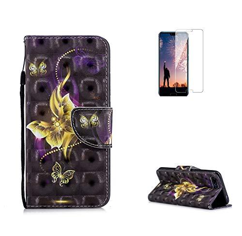 Fatcatparadise Coque Huawei Honor 10, Etui de téléphone Style Livre Couleur 3D Rétro Emboss Premium Flip Housse Coque Etui Portefeuille Support PU Cuir pour Huawei Honor 10 (Papillon)