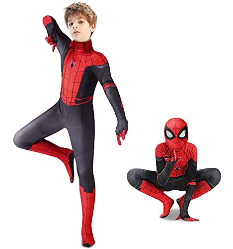 Superhero Costume for Kids - Spandex Kids Superhero Bodysuit 3D Style Birthday Party Halloween Cosplay Costume (Red, Kids-M (Height: 43-46Inch))