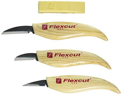 FLEXCUT KN500 wood-carving-tools, 3-Piece Knife Starter Set