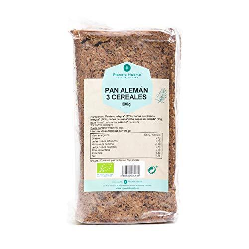 Planeta Huerto | Pan Alemán de Centeno Ecológico 3 Cereales - 500 gr | Con Avena · Cebaza · Linaza Rico en Fibra y Minerales | Para Desayunos, Snacks, Brunchs o Meriendas Saludables