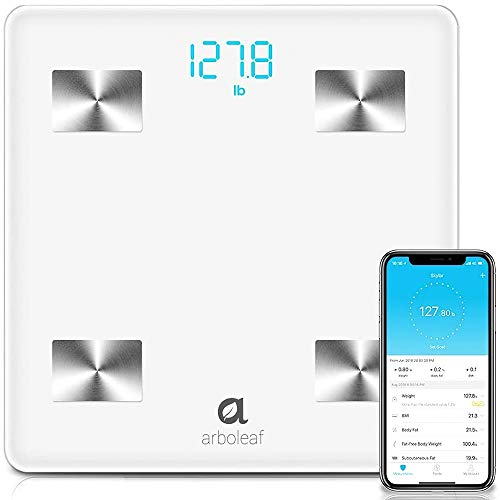 Arboleaf Digital Scale, Bluetooth Smart Scale Bathroom Weight Scale, Body Fat Monitor, 10 Key Composition, iOS Android APP, Unlimited Users, Auto Recognition, BMI, BMR